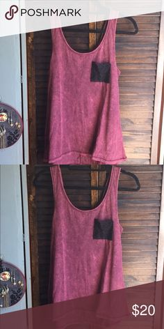 LOL Vintage Burgundy Tank Top With Crochet Pocket Brand New With Tags LOL Vintage  Tops Tank Tops