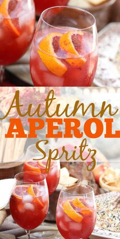 Autumn Aperol Spritz are easy festive fall cocktails made with Apple Cider, Aperol, and Blood Oranges. Serve for Thanksgiving, Friendsgiving, or any Fall gathering! #aperolspritz #aperol #cocktail #drink #bloodorange #Thanksgiving #Fall #Autumn
