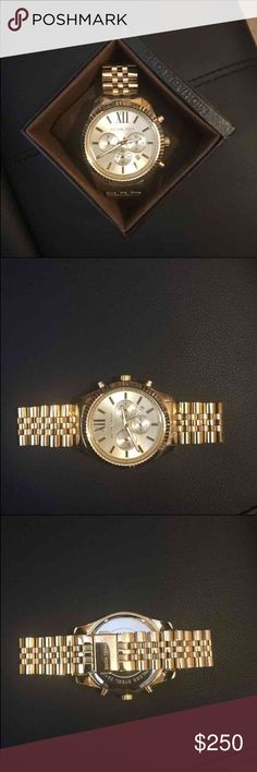 NEW Michael Kors gold men's watch authentic Michael Kors gold men's Bradshaw watch. NEVER BEEN WORN. no scratches, NEW condition. comes with watchbox and booklet. i paid full retail for it. Accessories Watches #michaelkors #watches #watchesmk #watch