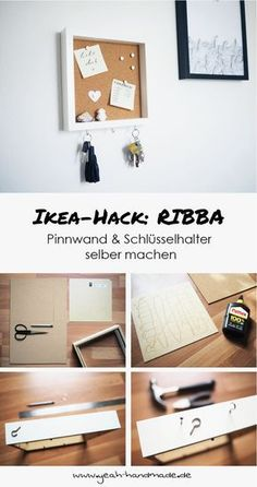 DIY Ikea Hack: pin board and key holder from the Ikea picture frame RIBBA… - Diydekorationhomes.club - DIY Ikea Hack: pin board and key holder from the Ikea picture frame RIBBA … - Diy Hanging Shelves, Diy Wall Shelves, Floating Shelves Diy, Diy Home Decor Projects, Diy Projects To Try, Decor Ideas, Make Your Own Pins, Marco Ikea, Ikea Picture Frame