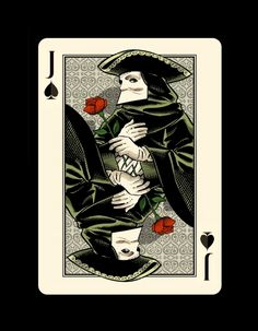 """Jack of Spades - the """"Bauta"""" -Bicycle """"Venexiana"""" deck of playing cards by Half Moon Playing Cards"""