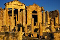 Temples of Minerva, Jupiter and Juna and Forum at Roman ruins of Sufetula. In Tunisia.