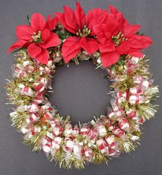 Peppermint Puffs Candy Wreath Edible Christmas Decoration