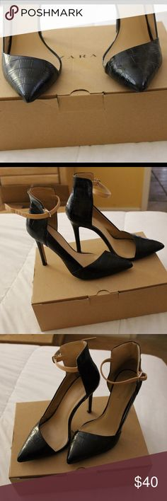 Black pointy Zara heels Used all black with beige straps Zara heels. Worn twice but in perfect condition. Box says 6 1/2 but it's EUR 37 which is a size USA 7. Zara Shoes Heels