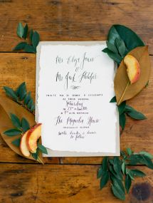 Sweet peach-inspired invitations: http://www.stylemepretty.com/florida-weddings/jacksonville-fl/2015/08/24/southern-simplicity-inspiration-shoot/ | Photography: E.M. Anderson - http://www.emandersonphotography.com/