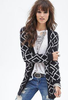 Fuzzy Diamond Knit Cardigan | FOREVER 21 - 2000057808