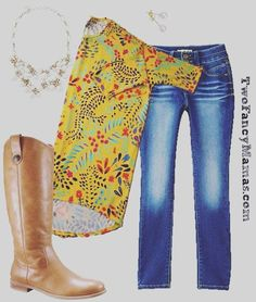 LuLaRoe Irma with skinny jeans and boots