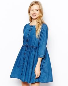 Image 1 of ASOS Button Front Smock Dress