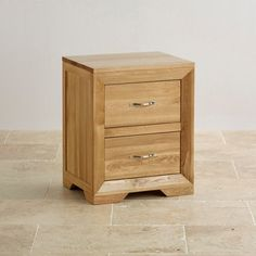Like the colour of the wood. Bevel Natural Solid Oak 2 Drawer Bedside Cabinet from the Bevel solid oak range from Oak Furniture Land Oak Furniture Land, Furniture Wax, Bedroom Furniture, Furniture Design, Solid Oak Beds, Wooden Bedside Table, Bedside Tables, Large Dresser, Welsh Dresser