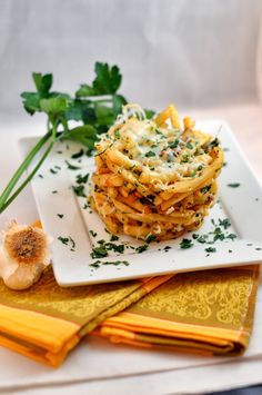 Garlic and Parsley French Fry Stack
