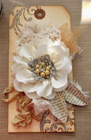 diy gift tag--repurpose your tags and scraps for creative gift tags Vintage Tags, Fabric Flowers, Paper Flowers, Ribbon Flower, Paper Leaves, Flower Diy, Card Tags, Gift Tags, Karten Diy