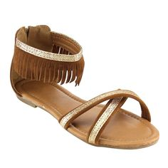 LINK GC14 Girl's Back Zipper Macrame Fringe Flat Sandal Shoes > New and awesome product awaits you, Read it now  : Girls sandals