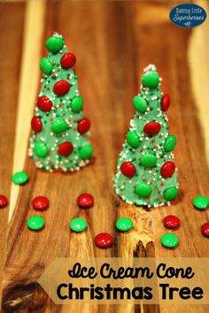Your kids will have a blast making these Ice Cream Cone Christmas Tree Treats.  They are sure to love eating these sweet treats too!