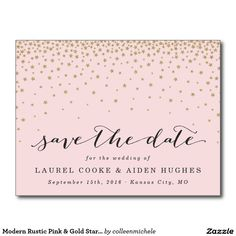 Modern Rustic Pink & Gold Stars Save the Date Postcard
