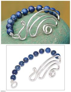 Collectible Sterling Silver Beaded Lapis Lazuli Bracelet - In Visions. A ribbon of silver evokes thoughts that drift upward, drawn toward mystic visions. Centering a strand of gemstones, it is the focal point of this bracelet by Peru's Gloria Gamio. Lapis lazuli's deep blue mystique is heavenly. .925 Sterling silver | NOVICA