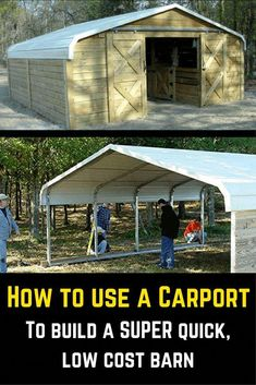 Find out how to use an off-the-shelf carport to build a quick, low cost barn. - Find out how to use an off-the-shelf carport to build a quick, low cost barn… Find out how to use an off-the-shelf carport to build a quick, low cost barn… Learn Woodworking, Woodworking Plans, Woodworking Projects, Popular Woodworking, Woodworking Apron, Woodworking Furniture, Barn Plans, Wood Plans, Outdoor Projects
