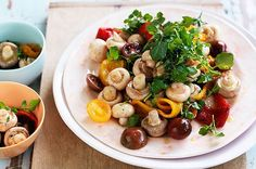 A perfect side dish for your next barbecue, this light and healthy summer mushroom salad is full of flavour with pomegranate, capsicums and cherry tomatoes. Best Vegetable Recipes, Mushroom Recipes, Vegetarian Recipes, Healthy Recipes, Salad Recipes For Dinner, Easy Salad Recipes, Easy Salads, Summer Salads, Mushroom Salad