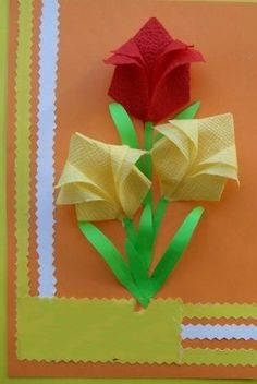 餐巾纸纸艺郁金香花教程完成后精美的效果图