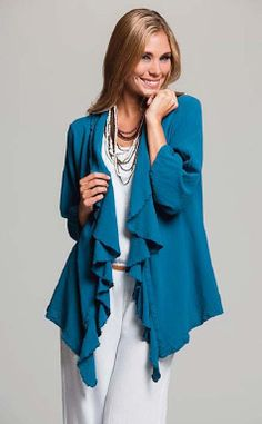 blue jacket Oh My Gauze! is the ultimate in casual and comfortable fashion