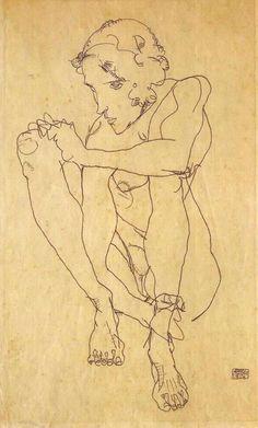 Egon Schiele, Squatting Woman, 1914 on ArtStack #egon-schiele #art