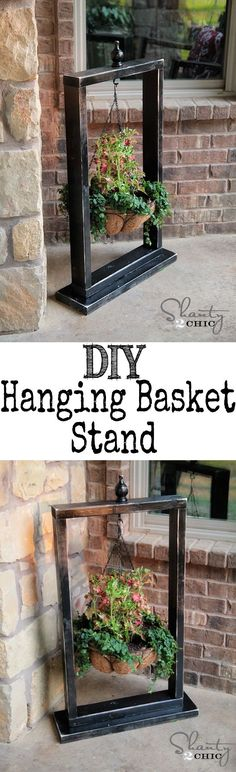Super cute and easy Hanging Basket Stand. Spruce up that door step or patio. #planter #outoordecor #diywoodprojects