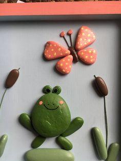 Framed Wall Art, Wall Art Decor, Nursery Decor, Bedroom Decor, Frog Rock, Pebble Art Family, Frog Crafts, Summer Crafts For Kids, Rock Painting Designs