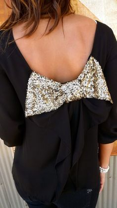 black top with glitter bow