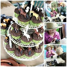 I think this is the idea I will use for their 5th birthday party cowboy/cowgirl theme.  Chocolate cupcakes with chocolate icing dipped in chocolate sprinkles & topped with miniature plastic horses - these were found by the blogger at her local Joann's.