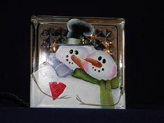 GLASS BLOCK LIGHT snowman couple.