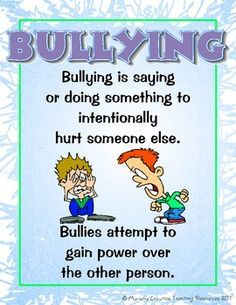 These bullying posters are a visual and descriptive ay to explain the different forms of bullying. Posters include:  * What is Bullying  * Verbal Bullying  * Social Bullying  * Cyber Bullying  * Physical Bullying