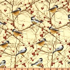 Timeless Treasures Cabin Fever Flannel Birds Cream from @fabricdotcom  Designed for Timeless Treasures, this single napped (brushed on face side only) flannel fabric is perfect for quilting, apparel and home décor accents. Colors include brick, brown, cream and gold.