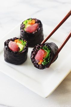 Black rice sushi rolls filled with fresh ahi tuna, and a crunch veggie mix. This is a great appetizer when in the mood for something other than chips.
