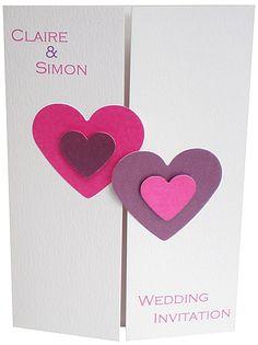 handmade personalised wedding stationery - double hearts wedding card