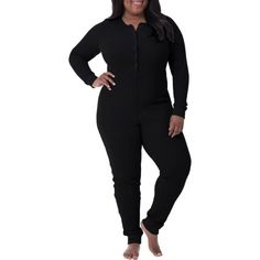 Plus Size Fit for Me by Fruit of the Loom Women's Plus Waffle Thermal Underwear Union Suit, Size: 1XL, Black