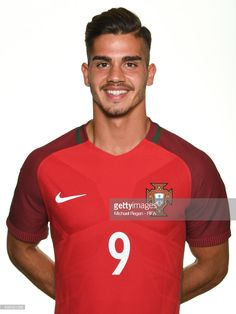Andre Silva poses for a picture during the Portugal team portrait session on June 15, 2017 in Kazan, Russia.