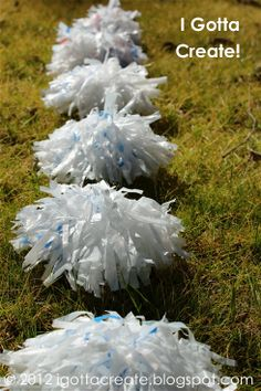 """Turn common plastic grocery bags into fabulous Pom Poms for gift bows, party hats and more! This tutorial at """"I Gotta Create! (Check out this great tutorial! Can be used for garland, clouds, etc) Plastic Bag Crafts, Plastic Grocery Bags, Cheer Gifts, Cheer Mom, Flag Football Party, Football Moms, Animal Bag, Gift Bows, Party Entertainment"""