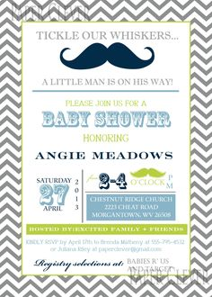 Boys Baby Shower invitation chevron vintage by paperclever on Etsy