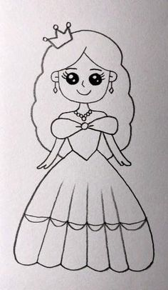 Disney Drawings Sketches, Easy Cartoon Drawings, Cute Little Drawings, Cute Easy Drawings, Art Drawings Beautiful, Girly Drawings, Art Drawings For Kids, Art Drawings Sketches Simple, Kawaii Drawings