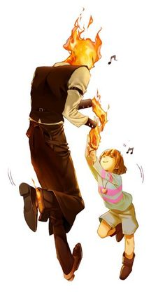 Grillby and Frisk!
