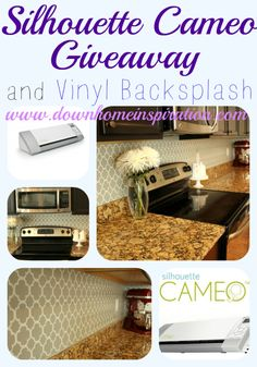 This is really smart, she used her Silhouette to cut a vinyl design for her backsplash!