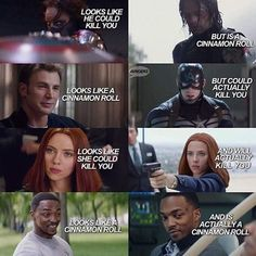 True, true, true, and true. Bucky Barnes, Steve Rogers, Natasha Romanoff, Sam…