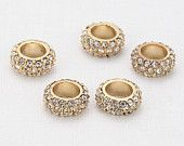 Crystal Round Stone Rondelle Polished Gold-Plated - 2 Pieces<RD0006-PGCR>