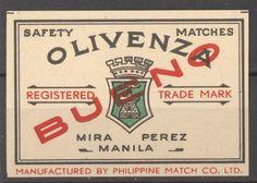Olivenza Manila Philippines old Matchbox label Belgian Philippine Art, Filipiniana, Manila Philippines, Sign, Memories, Pinoy, Retro, Spanish, Label