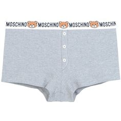 Moschino Hotpants ($65) ❤ liked on Polyvore featuring grey, cotton jersey and moschino