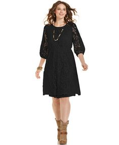 9247957011d ING Trendy Plus Size Lace A-Line Dress Plus Sizes - Dresses - Macy s