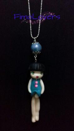 Collana doll(ca 10 cm)con perla di vetro.