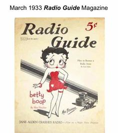 vintage Betty Boop March 1933 Radio Guide 5 cents