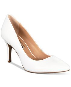 Women's Zitah Pointed Toe Pumps, Created for Macy's - Bright White Leather Pump Shoes, Women's Shoes, Shoes Style, Casual Shoes, Strap Heels, Ankle Strap, Pointed Toe Pumps, Womens Shoes Wedges, Types Of Shoes