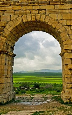 Beyond the Roman gate, Roman ruins of Volubilis , Morocco | UNESCO World Heritage Site.