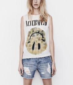Smiley Silk Tank, Women, Graphic T-Shirts, AllSaints Spitalfields